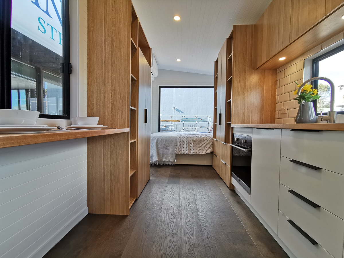 Anchor Tiny House by Hangan Interior Kitchen and Bed space Victoria Australia