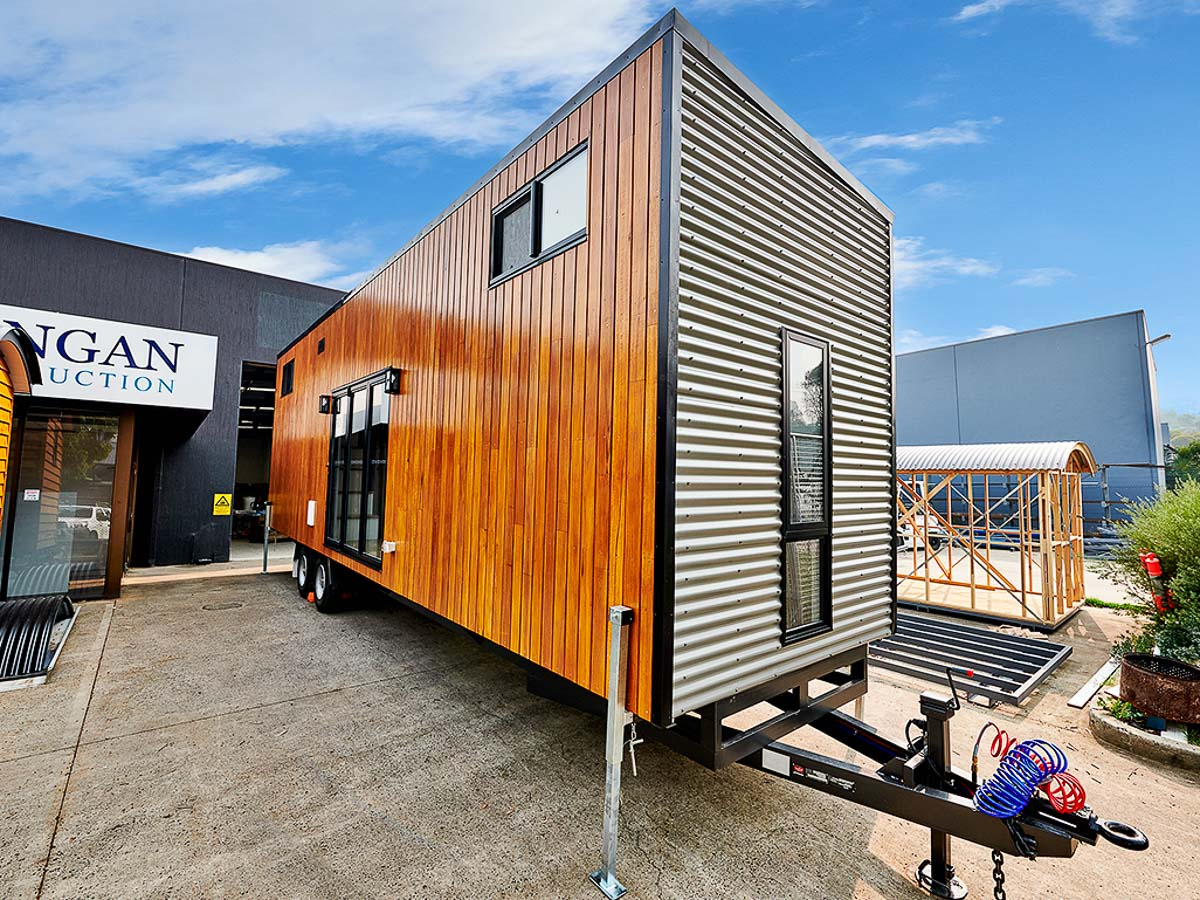 Cradle Mountain 11 meter Tiny House by Hangan Exterior Front and Side Victoria Australia