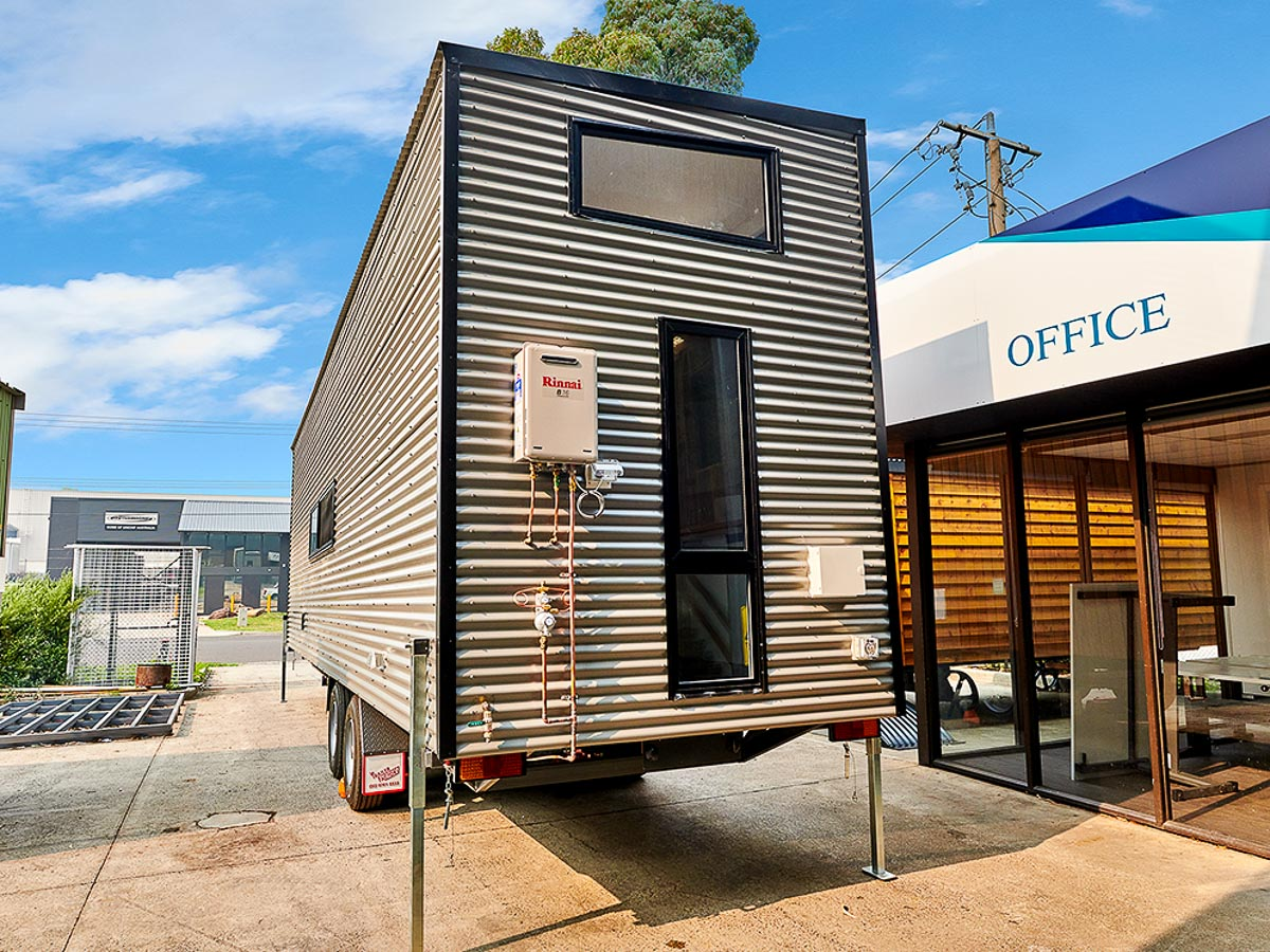 Cradle Mountain 11 meter Tiny House by Hangan Exterior Rear Gas and Power Connections