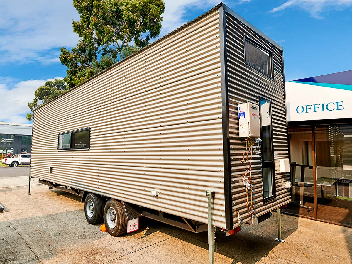 Cradle Mountain 11 meter Tiny House by Hangan Exterior side Colorbond Victoria Australia