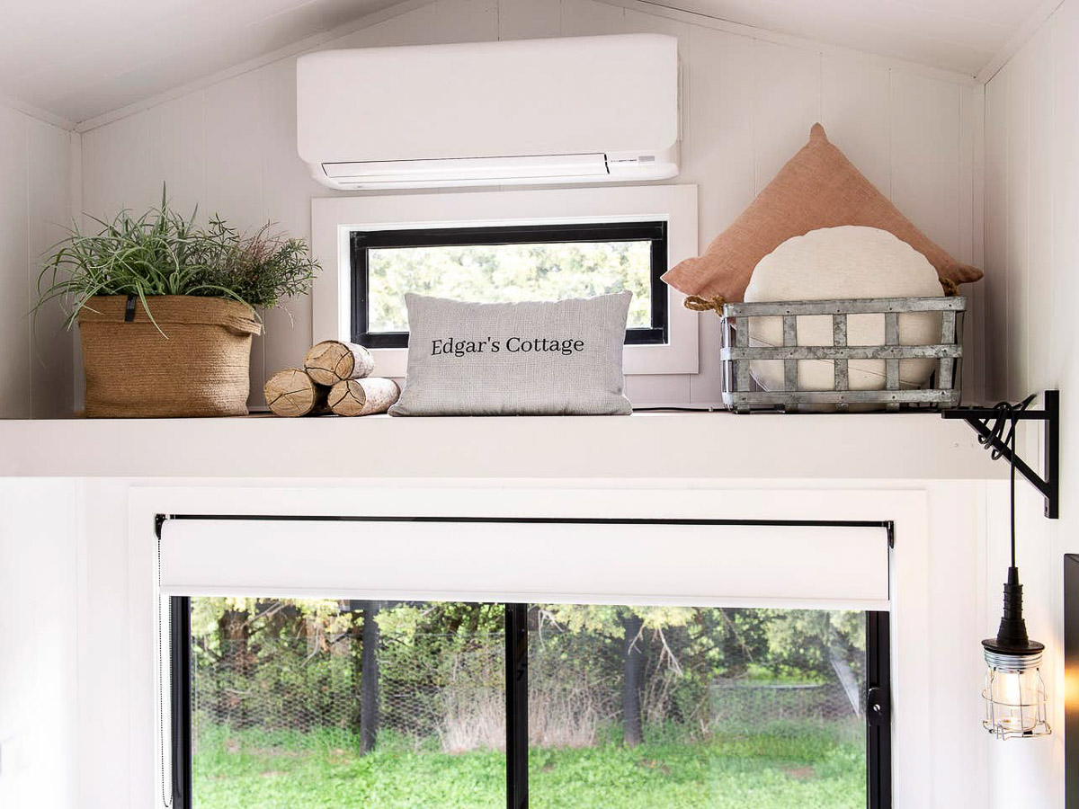 Edgars Mission Tiny House by Hangan Air Conditioning and storage shelf Victoria Australia