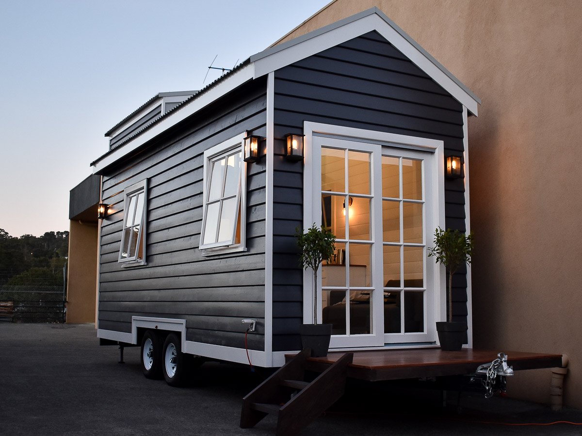 Hillside Tiny House by Hangan Exterior Front and Side Double Pitched Roof Victoria Australia