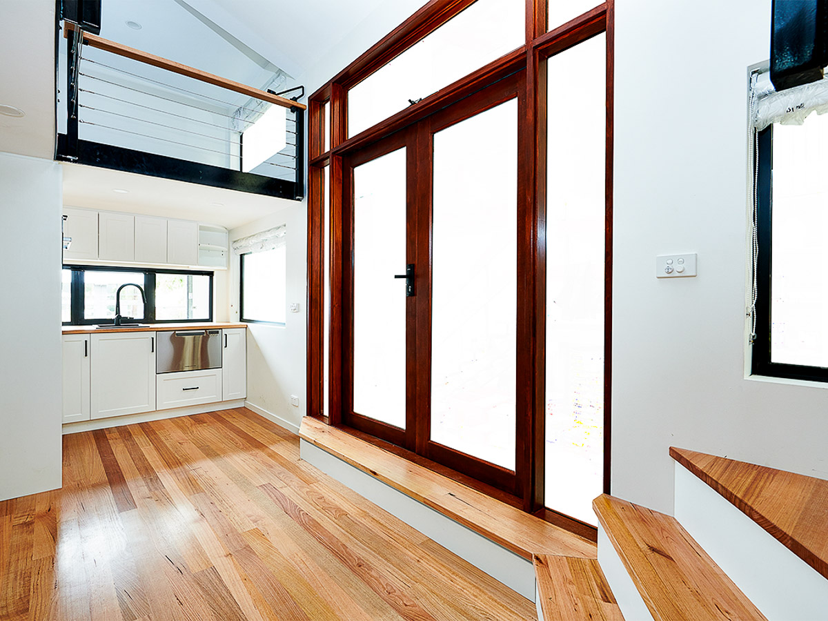 Melrich Tiny House by Hangan Entrance and Kitchen Victoria Australia