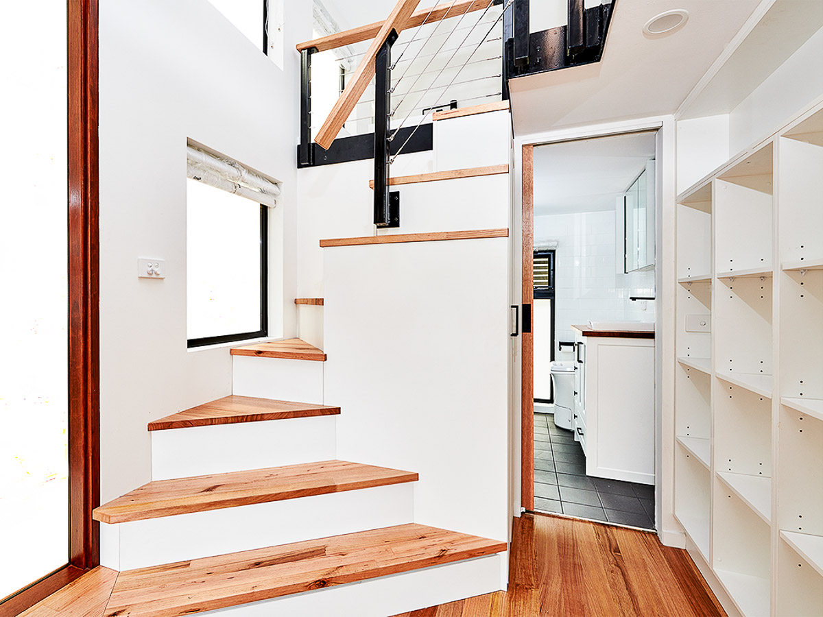 Melrich Tiny House by Hangan Spiral Staircase Close Up Victoria Australia